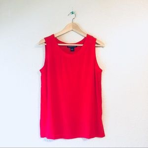 Vintage 100% Silk Tank Top Blouse Red Medium